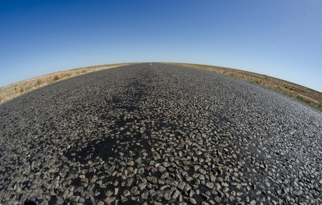 What a fish might see if it was sitting on the road on the Hay Plains !