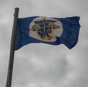 The flag flying proudly