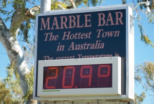 A chilly day in Australia's hottest town. in summer it is often over 40 for days in a row