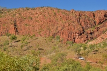 The 4WD gives some sense of scale to cliffs up to 200m high