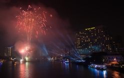 Fireworks over the Chao Phraya River, Bangkok