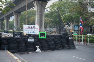 Barricades have been put up following attacks on the protest sites