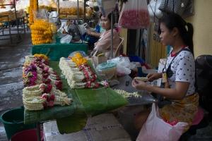 Making jasmine garlands