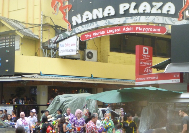 An adult playground ?   That usually means the gogo bars inside Nana Plaza, today it is outside !