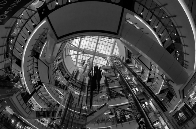 Fisheye view of CentralWorld shopping mall, Bangkok