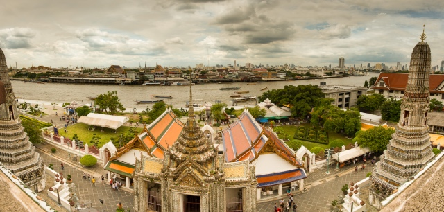 "Panorama taken from half way up the main ""Phrang"" of Wat Arun"