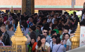 Part of the queue to see the Emerald Buddha