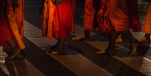Monks arriving way before dawn.