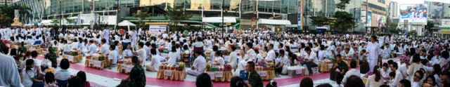 Panorama of some of the alms givers.