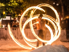 the ubiquitous fire dancers