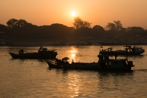 Sunrise, just after leaving Mandalay