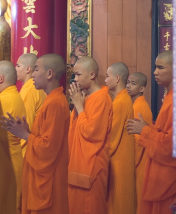 Not all the monks are giving 100% concentration !