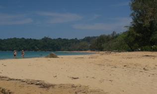 Nearest resorts are about 1km along this beach